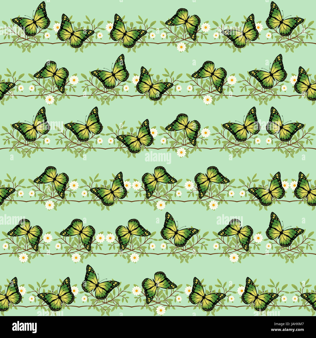 Nature pattern with green butterflies, twigs and daisies on a light green background. Digital art. - Stock Image