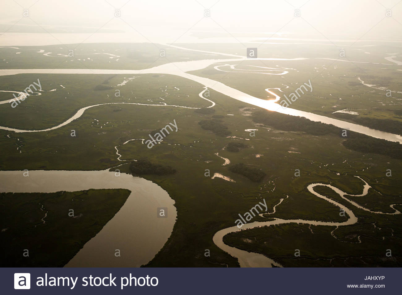 An aerial view of the Edisto and Combahee Rivers in the Ashepoo, Combahee, and Edisto River Basin, the ACE Basin. - Stock Image