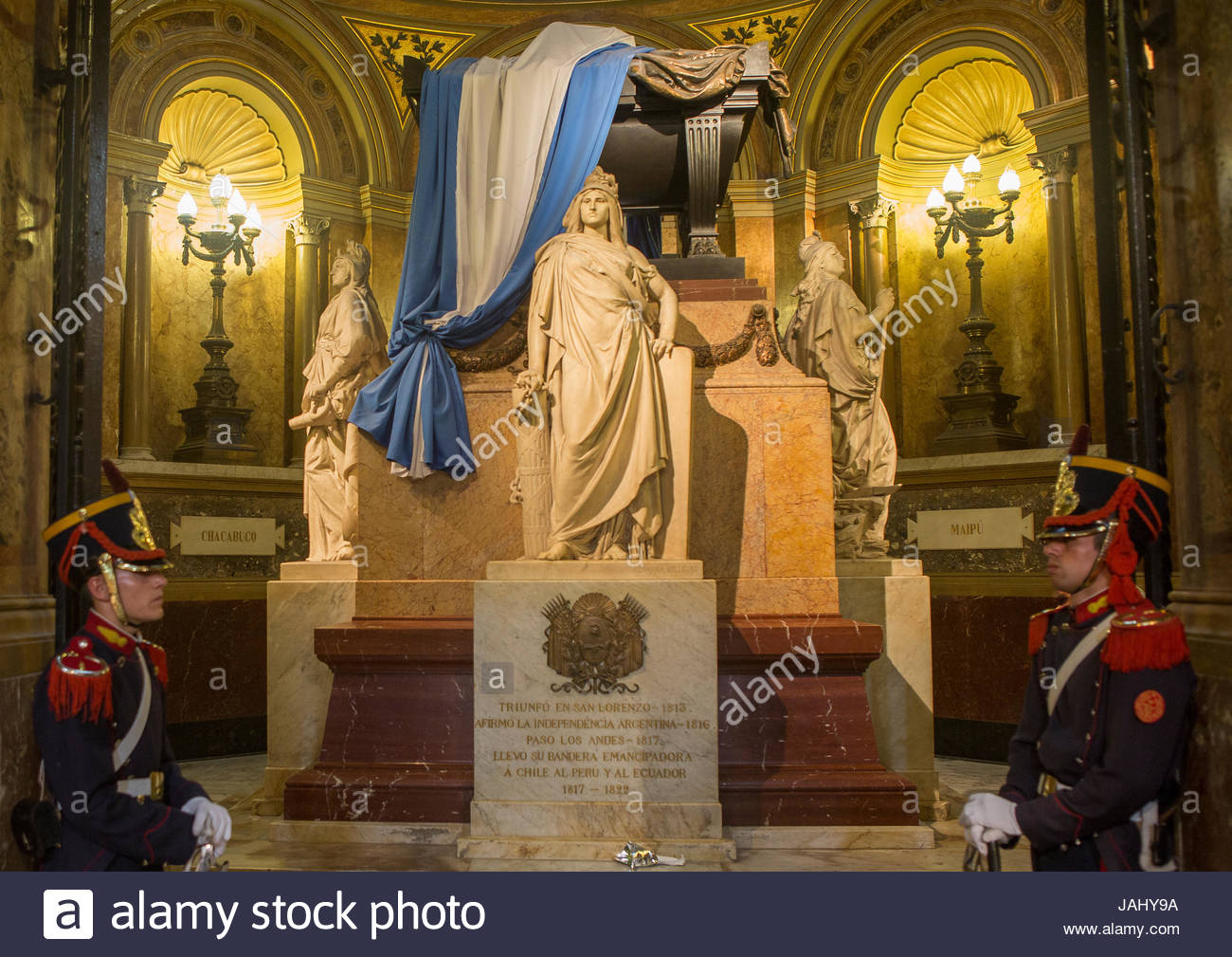 The mausoleum of General Jose de San Martin, inside the Metropolitan Cathedral, the main Catholic church in the - Stock Image