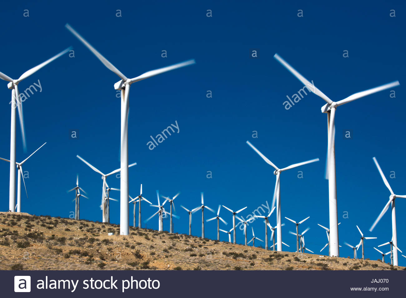 A portion of the more than 3,000 wind turbines at the San Gorgonio Pass Wind Farm outside Palm Springs, California. - Stock Image