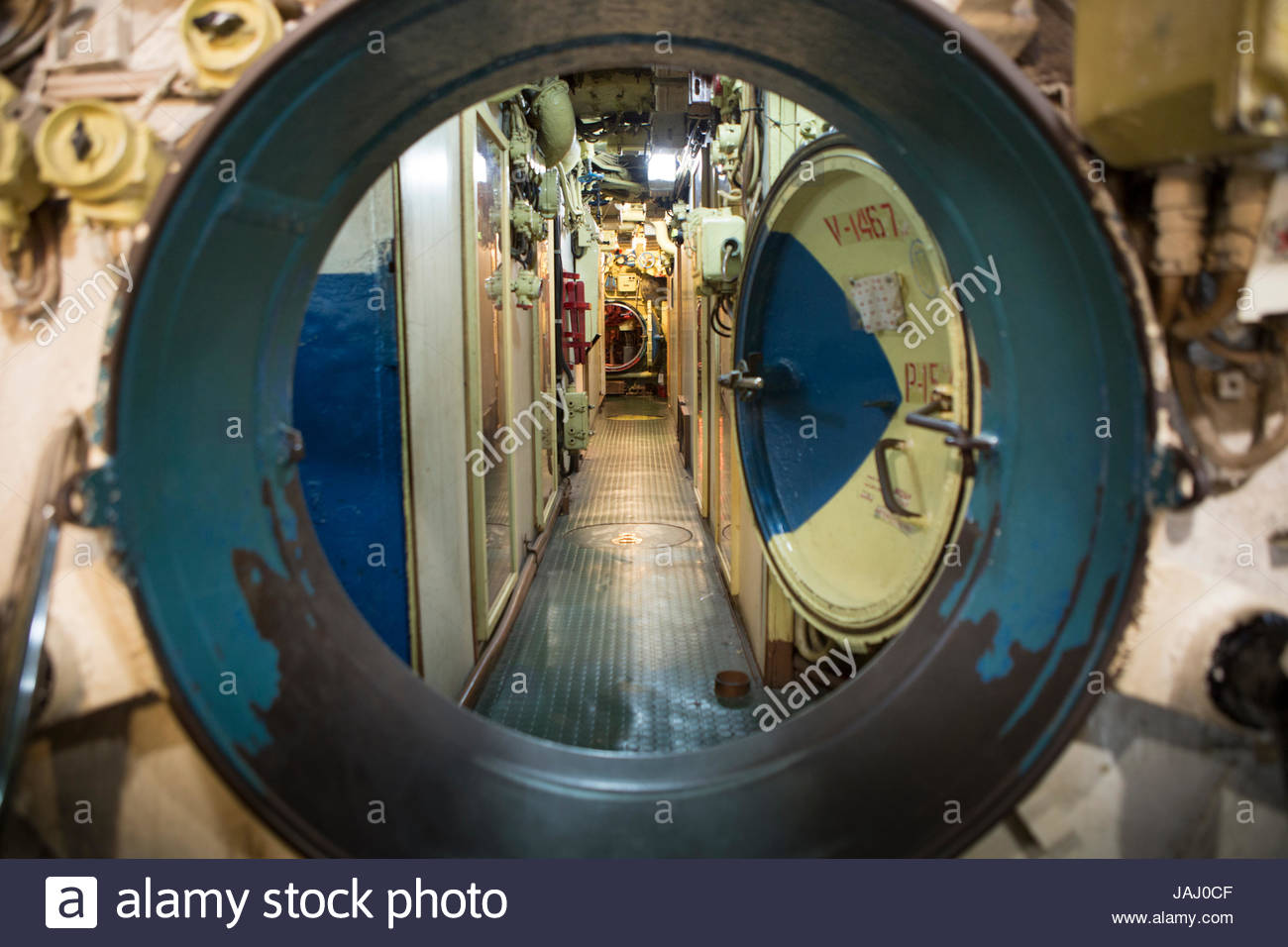 A watertight door in a passageway aboard ex-Soviet Foxtrot-class submarine B-427, on display in Long Beach. - Stock Image
