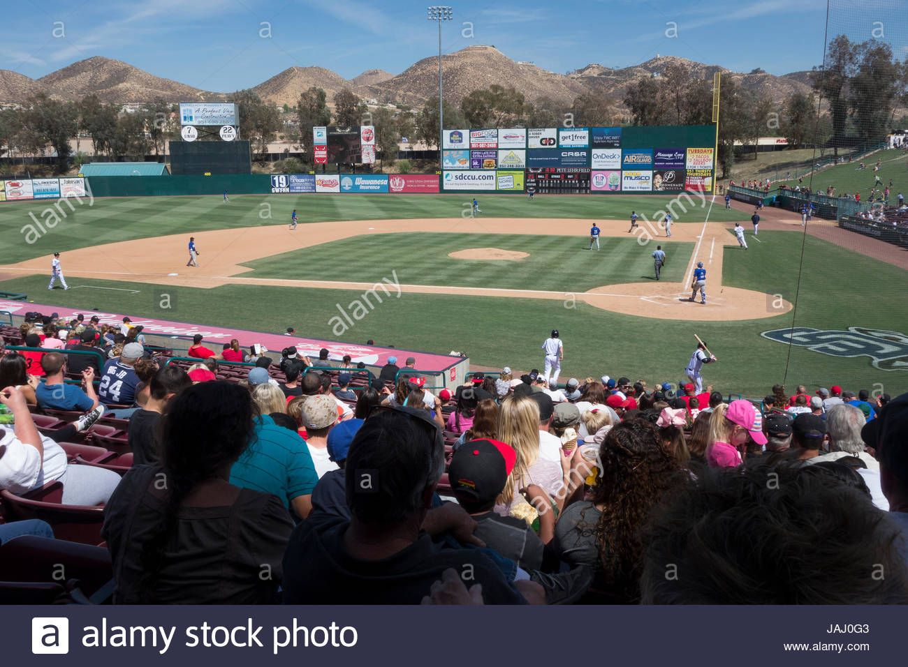 Class A California League baseball, Lake Elsinore Storm, 10, vs Rancho Cucamonga Quakes, 2, at Diamond Stadium. - Stock Image