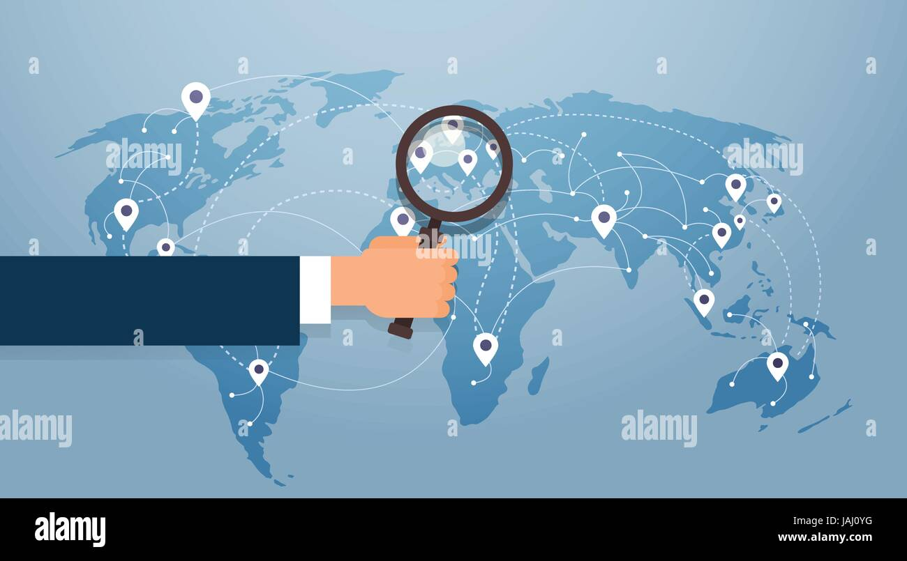 Search World Map.Hand Hold Magnifying Glass Over World Map Searching Place For Stock