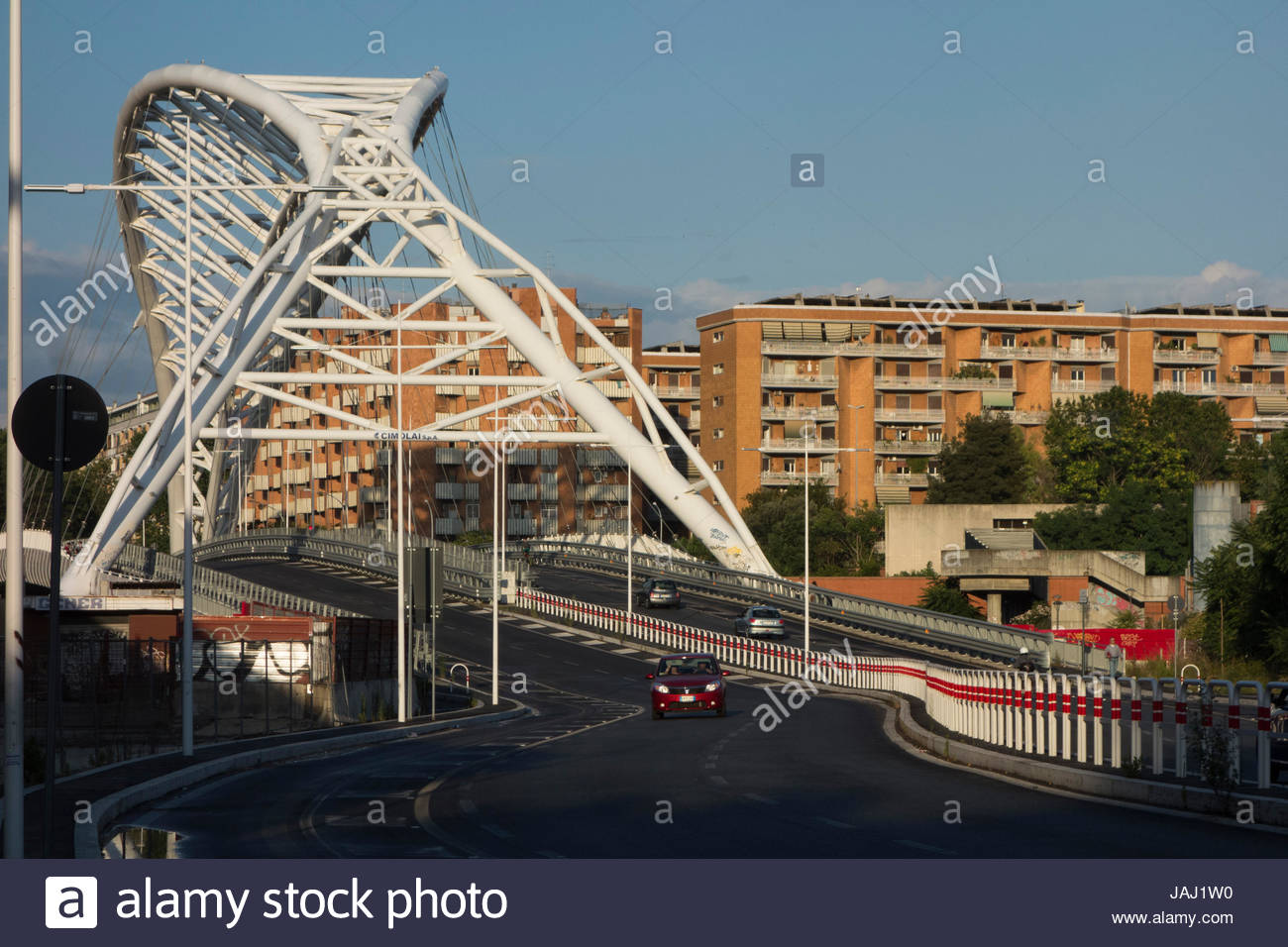 The Garbatella Cobra Bridge in the Ostiense section of Rome, Italy. Stock Photo