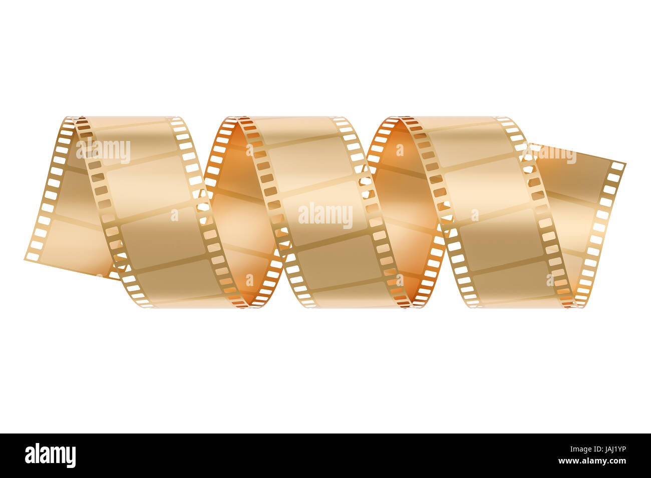 Golden Film Roll concept. 3D rendering isolated on white background - Stock Image