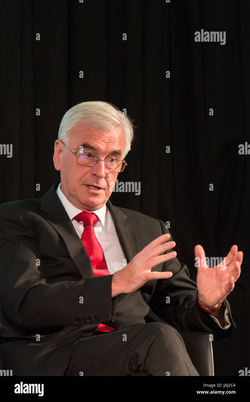 Shadow Chancellor John McDonnell speaking at a husting before the general elections 2017 - Stock Image