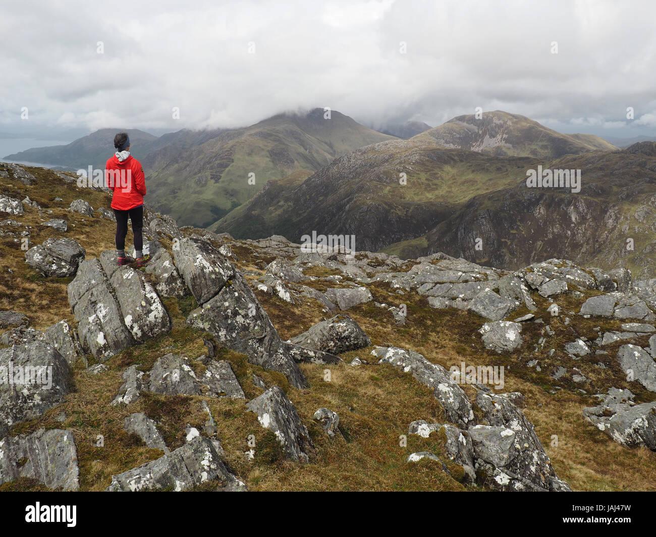 Walker on summit of Druim fada near Loch Hourn, Scotland Stock Photo