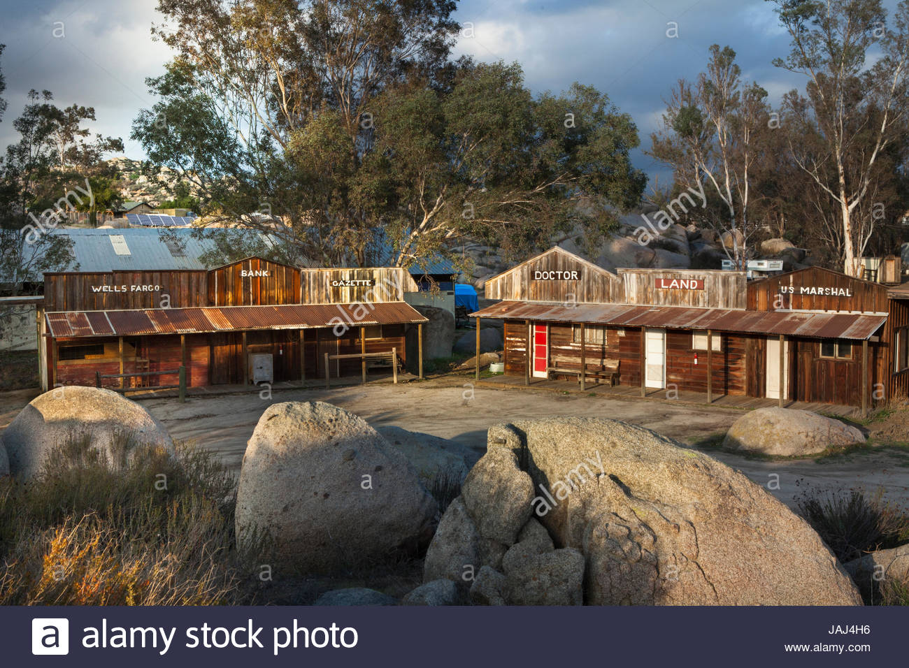 The Wooden Nickel Ranch with facades of an old-time Western town in Menifee, California. - Stock Image