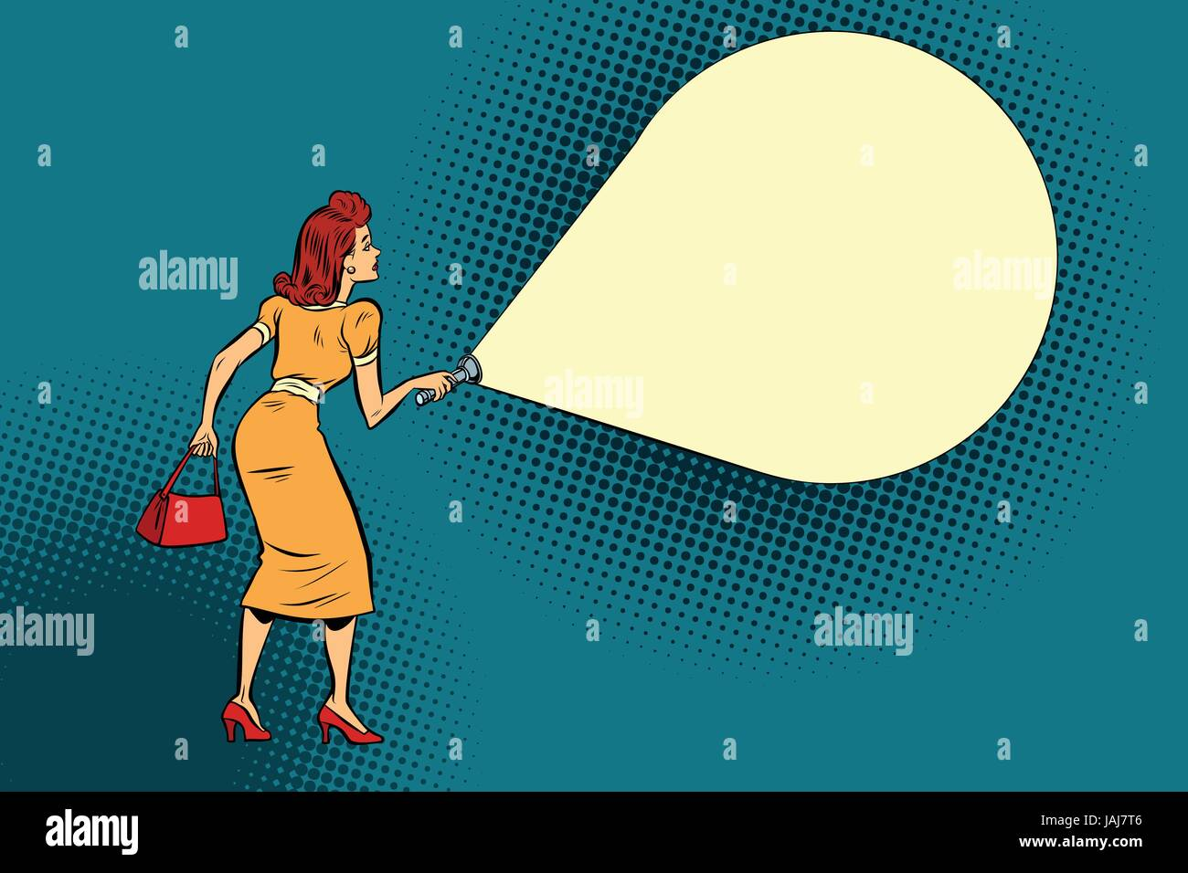 woman light flashlight - Stock Image