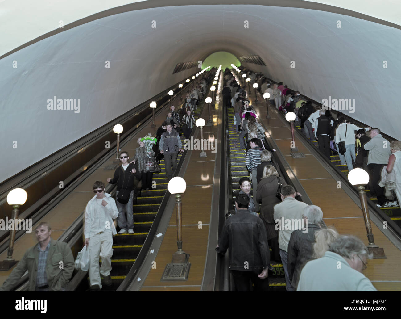 Moscow Metro, People On Moving Staircase, Moscow, Russia, Europe