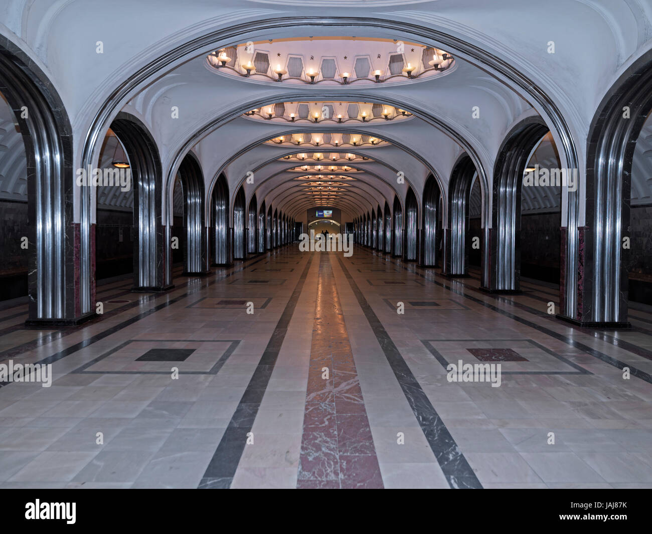 Moscow Metro, Metro station Mayakovskaya, Moscow, Russia, Europe Stock Photo