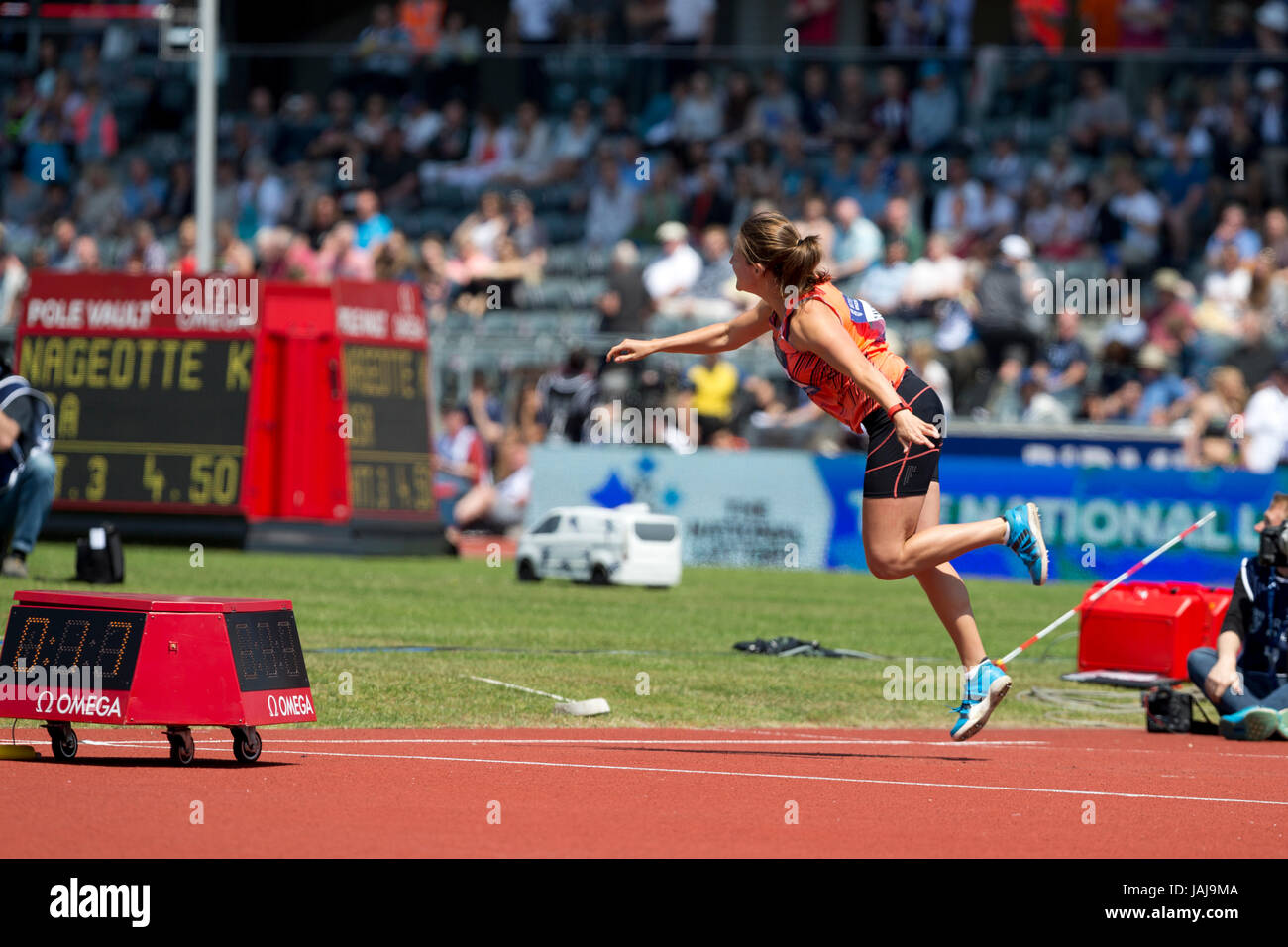 Goldie SAYERS competing in the Javelin at the 2016 Diamond League, Alexander Stadium, Birmingham, UK, 6th June 2016. - Stock Image