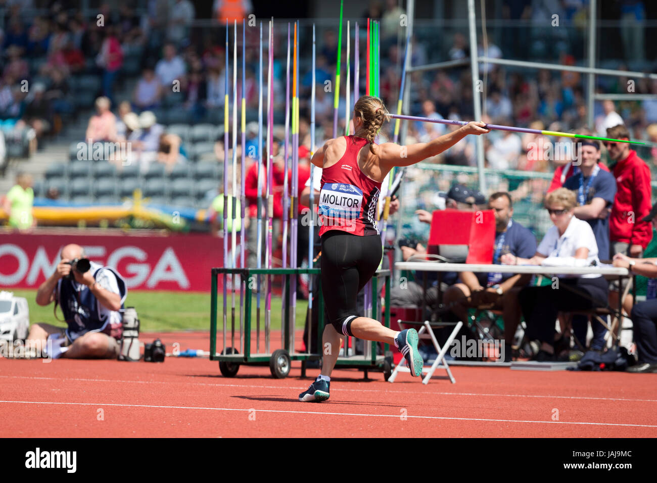 Katharina MOLITOR competing in the Javelin at the 2016 Diamond League, Alexander Stadium, Birmingham, UK, 6th June - Stock Image