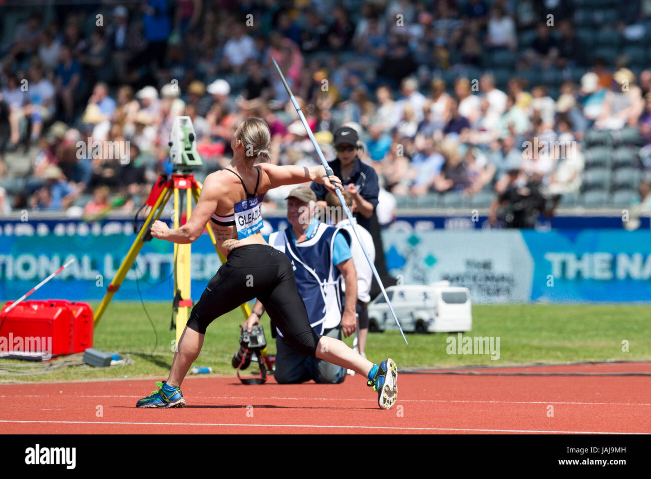 Elizabeth GLEADLE competing in the Javelin at the 2016 Diamond League, Alexander Stadium, Birmingham, UK, 6th June - Stock Image
