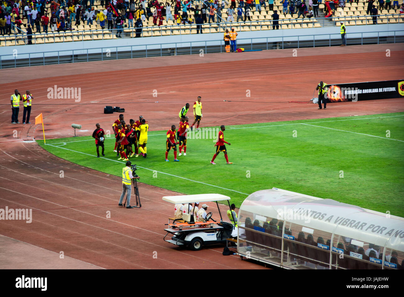 LUANDA, ANGOLA - JULY 04, 2015: Angola takes on South Africa in the group stage of the 2015 African Nations Championship - Stock Image