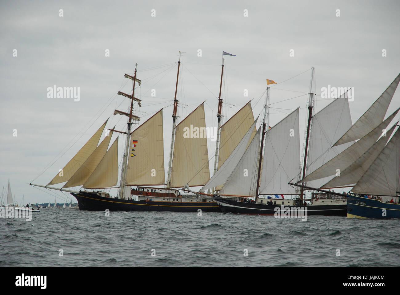 Germany,Schleswig - Holstein,Kiel,Kiel Förde,sailing ships,ship save, - Stock Image