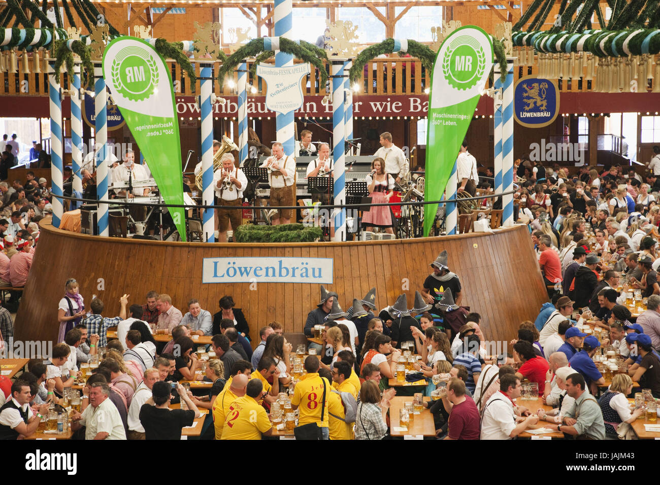 Germany,Bavaria,Munich,October feast,beer tent,guests,band,overview, - Stock Image