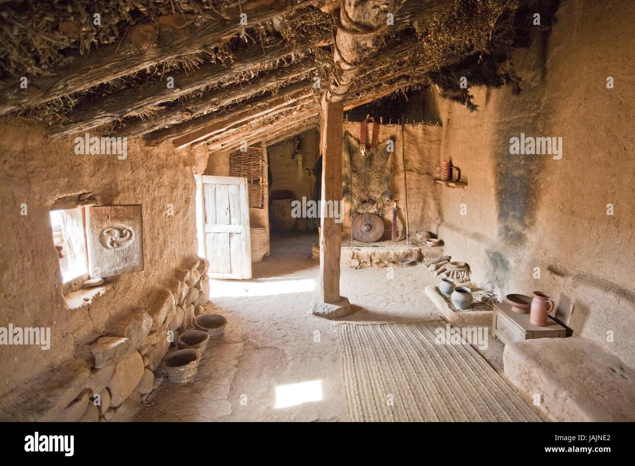 Spain,province of Soria,ruins of Numancia,house,inside, - Stock Image