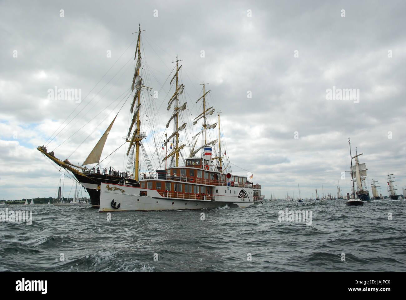 Germany,Schleswig - Holstein,Kiel,Kiel Förde,sailing ships,ship save,radian steamboat, - Stock Image