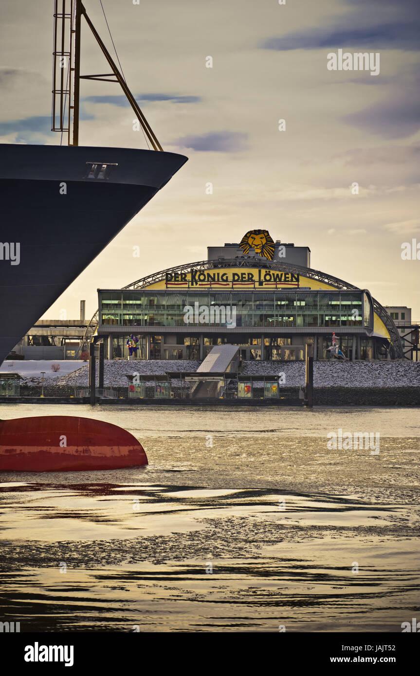 Germany,Hamburg,landing stages,severe good ship,bug,'Svenja',event tent,'king of the lions', - Stock Image