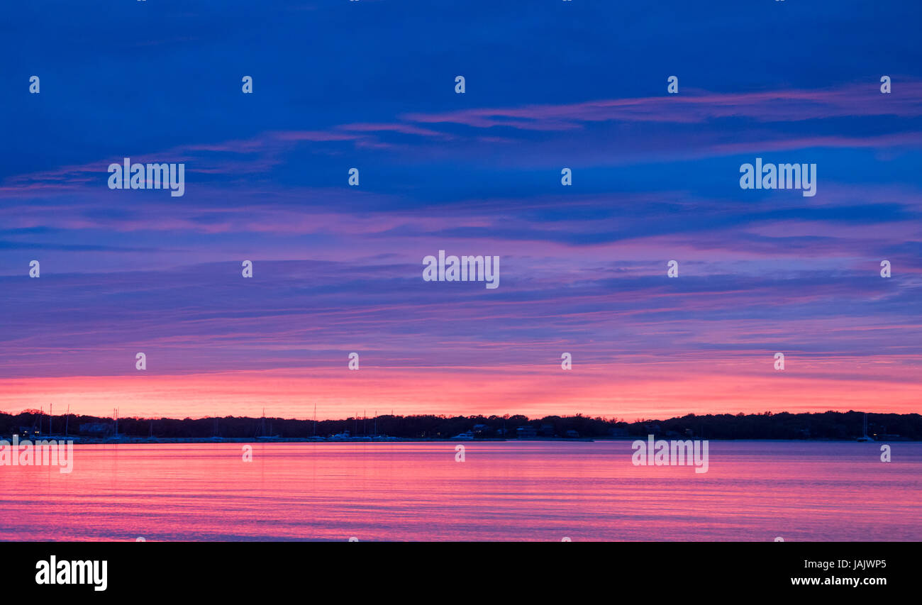 vivid sunset in Sag Harbor, NY - Stock Image