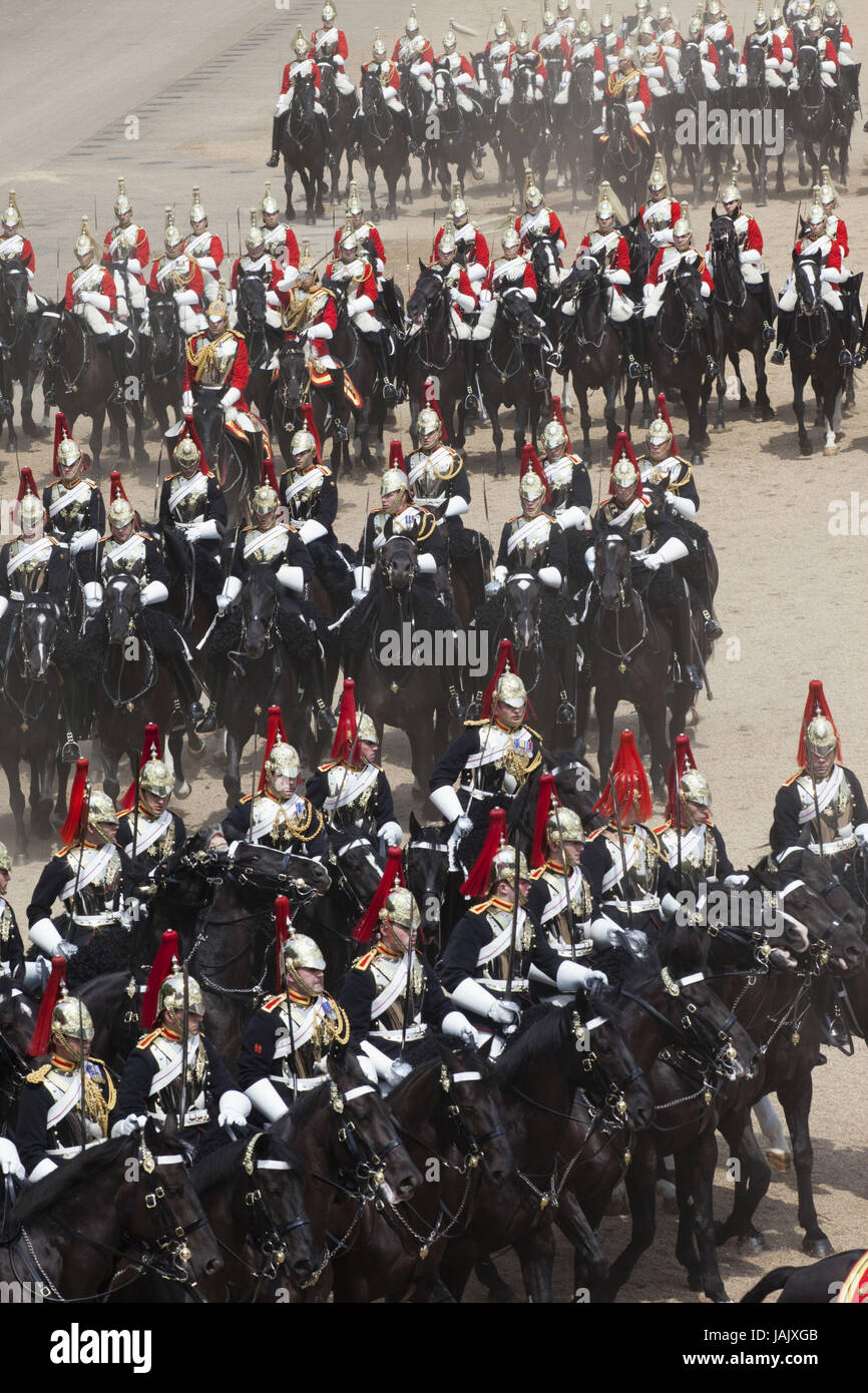 Great Britain,England,London,Whitehall,ceremony 'Trooping the Colour',save,blues and Royals,guard cavalry - Stock Image