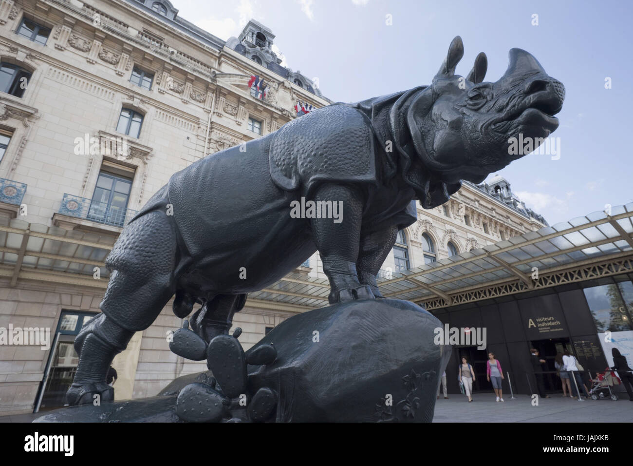 France,Paris,Musee d'Orsay,rhinoceros sculpture of Alfred Jacquemart, - Stock Image