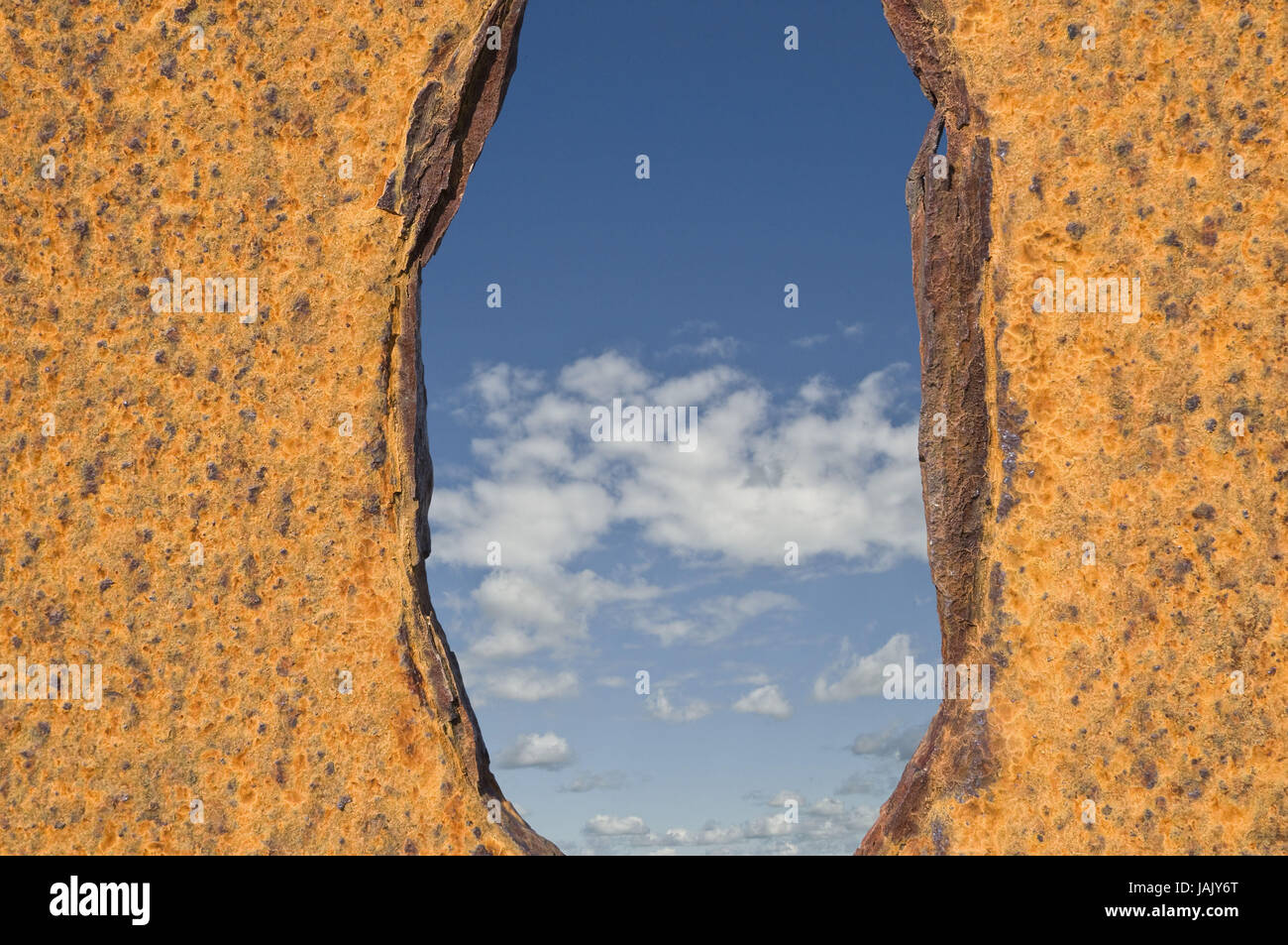 Conception,iron,rust,sample,orifice,view, - Stock Image