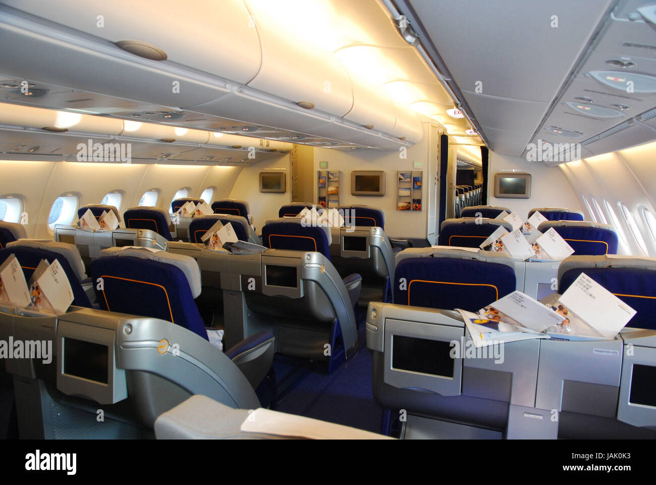 civil aviation lufthansa airbus a380 cabin rows business class stock photo 144247127 alamy. Black Bedroom Furniture Sets. Home Design Ideas