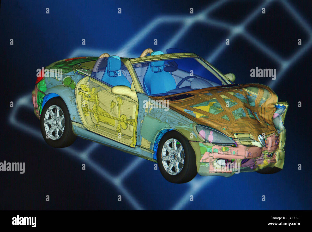 Virtual computer-assisted accident research,3-D simulation, - Stock Image