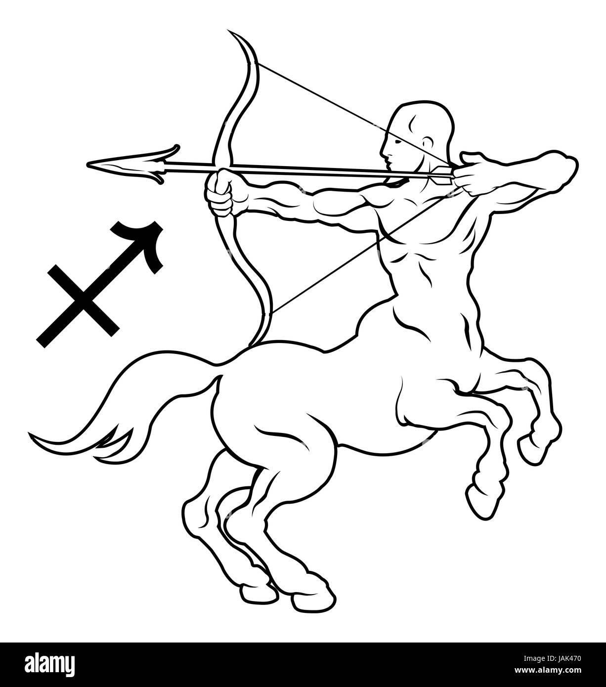 Illustration of Sagittarius the archer or centaur zodiac horoscope astrology sign - Stock Image