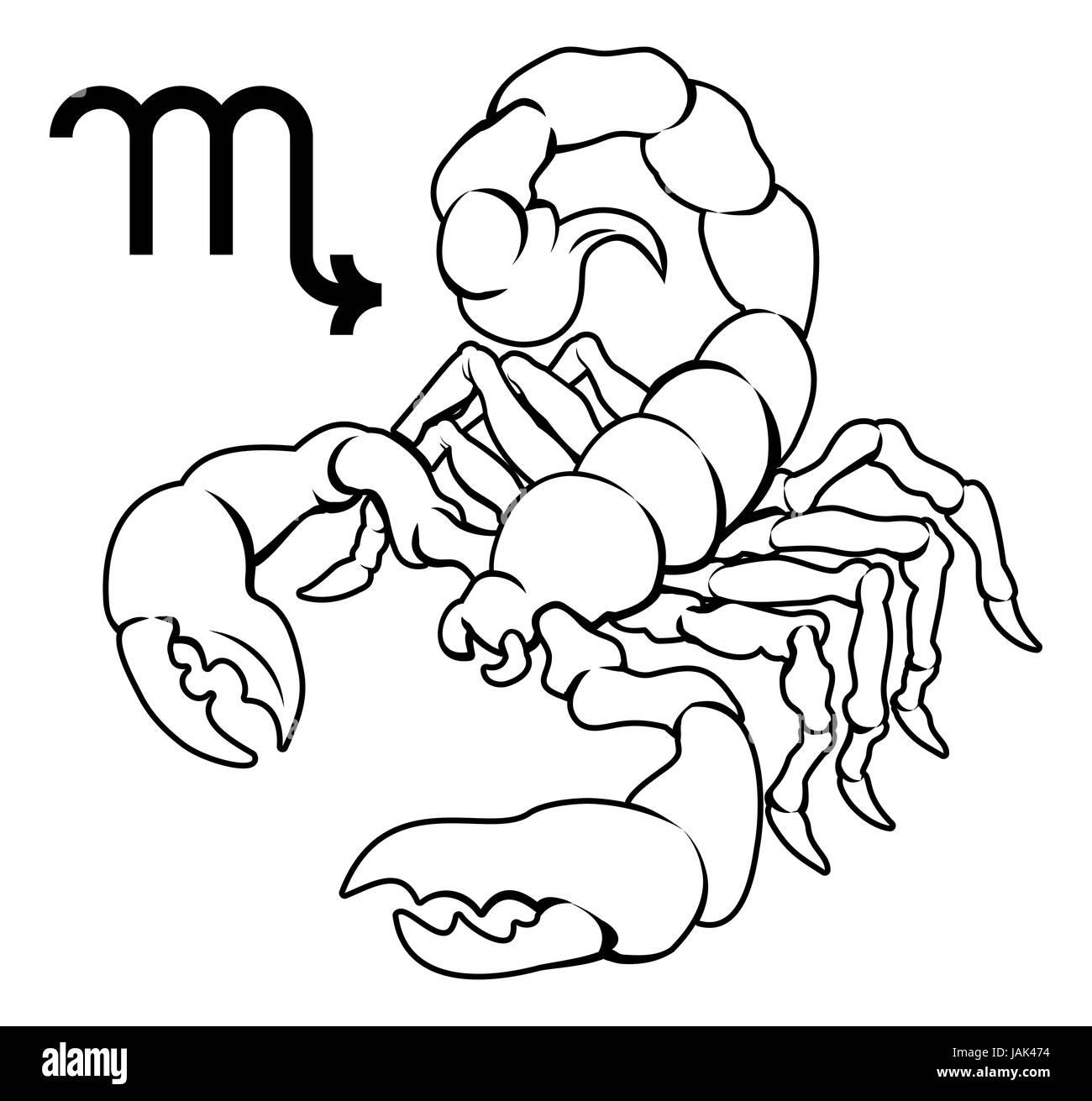 Illustration of  Scorpio the scorpion zodiac horoscope astrology sign - Stock Image