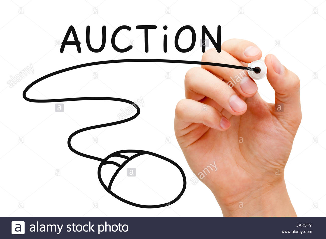 Hand sketching Online Auction Concept with black marker on transparent wipe board. - Stock Image