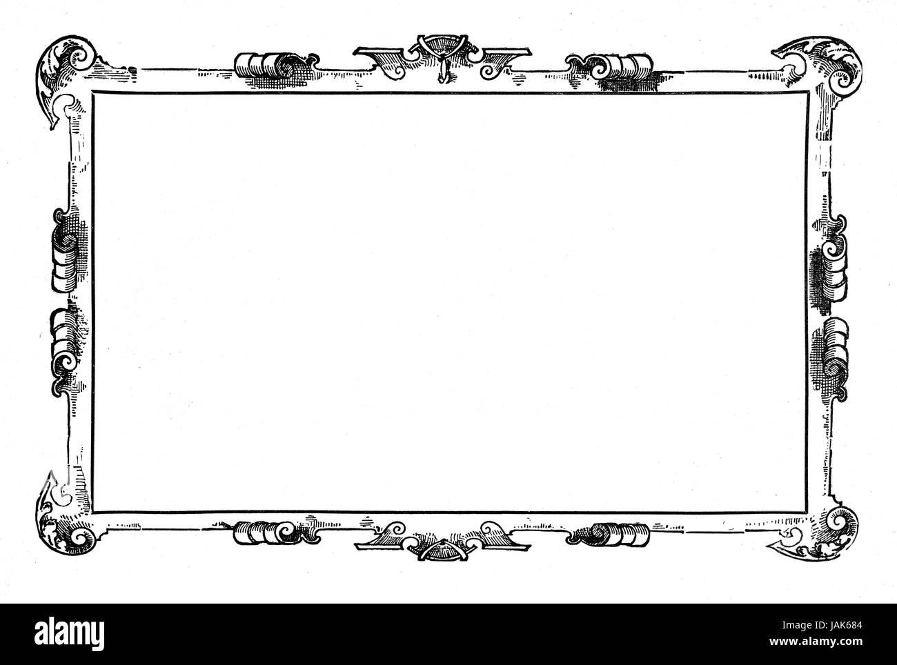 schwarzer Rahmen mit Leerraum in der Mitte auf weißem Hintergrund ...