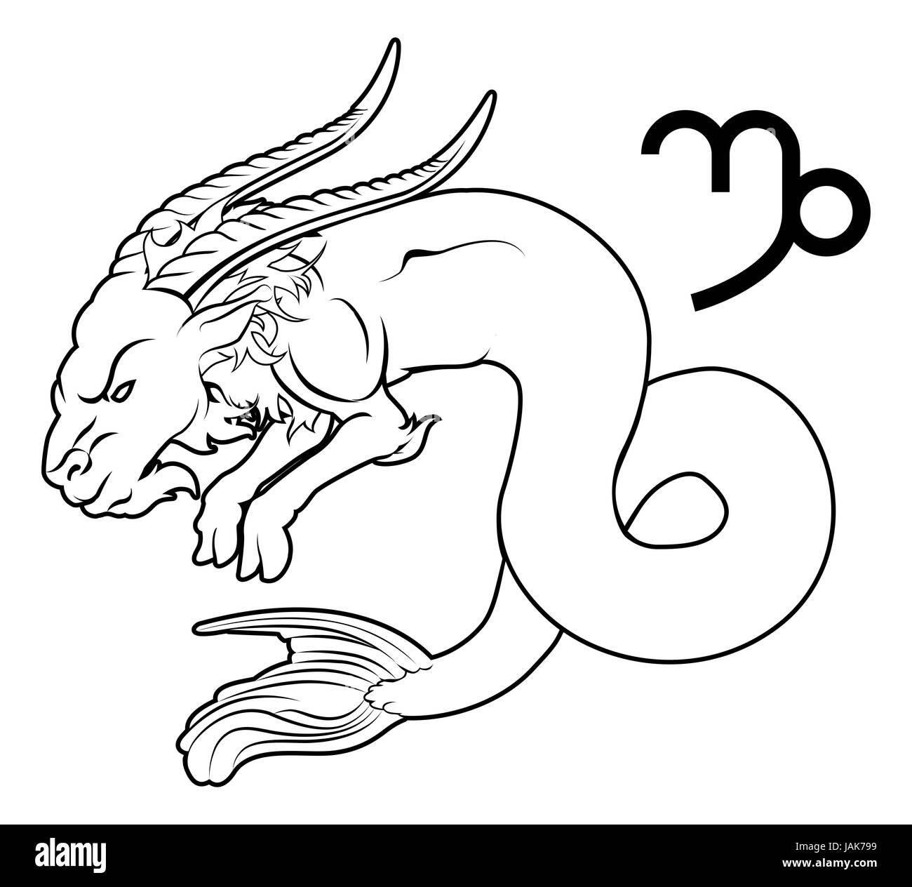 Illustration of Capricorn the sea goat zodiac horoscope astrology sign - Stock Image