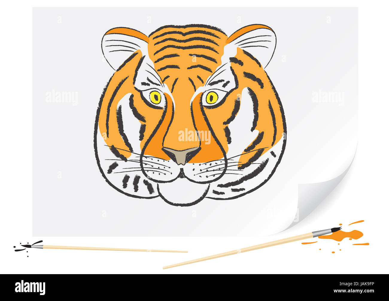 Children drawing of a tiger a brush paints on a paper - Stock Image