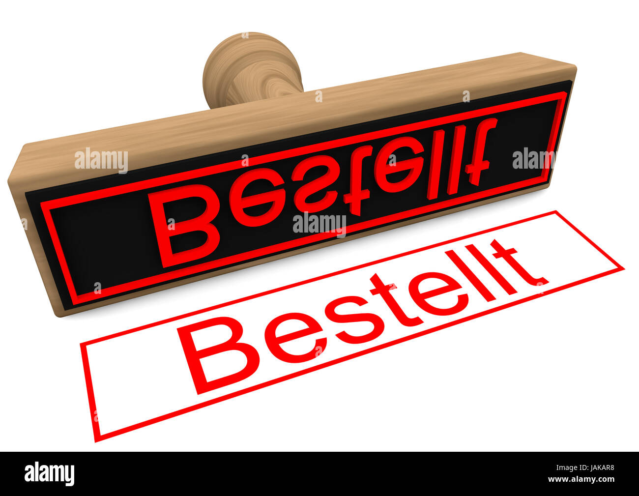 a wood stamp with red german lettering ordered - Stock Image
