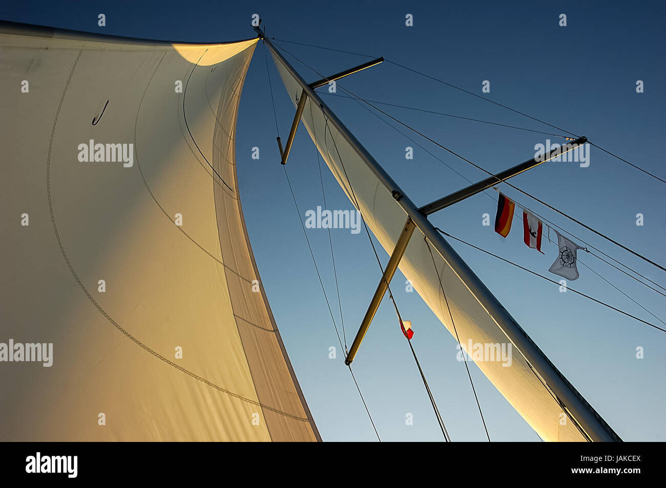 sails in the sunset - Stock Image