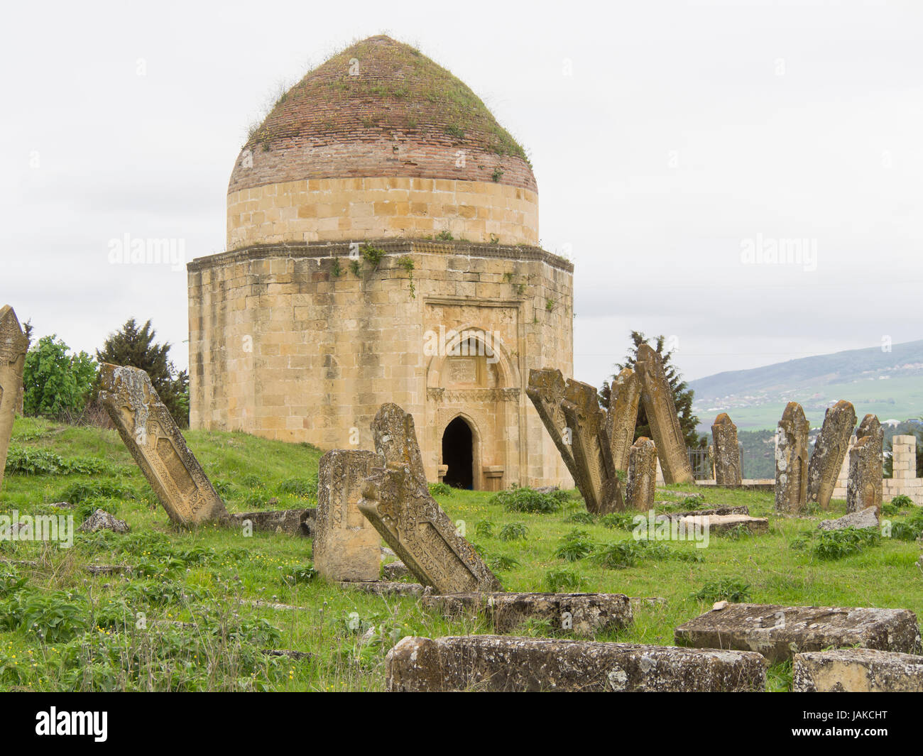 Yeddi Gumbez, Shirvan Domes or the Shamakhi mausoleum, tombs of Shirvan Dynasty rulers on a hillside outside the - Stock Image