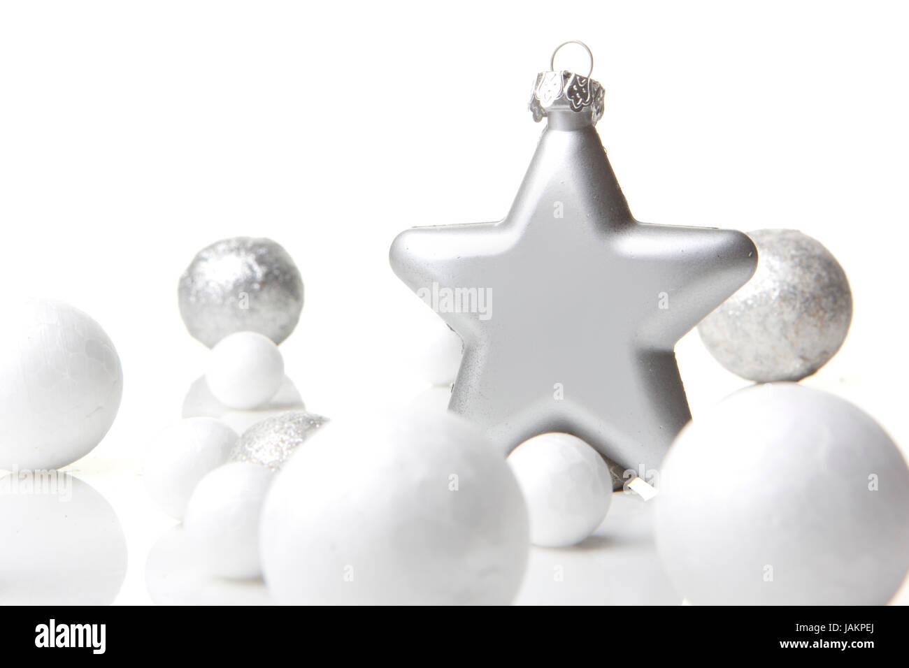 Weihnachten, Dekoration Weihnachtskugel silber und weiß mit Stern ...