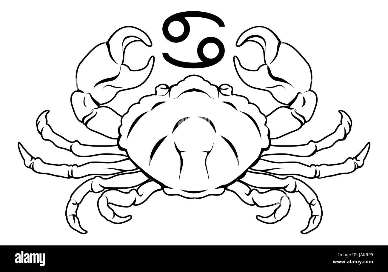 Illustration of Cancer the crab zodiac horoscope astrology sign - Stock Image