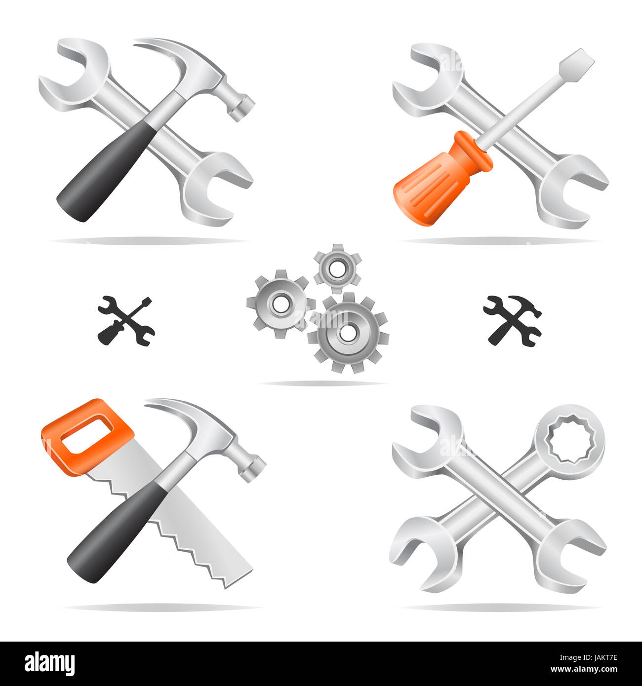 The tools icon set cross with each other isolated on a white background Stock Photo