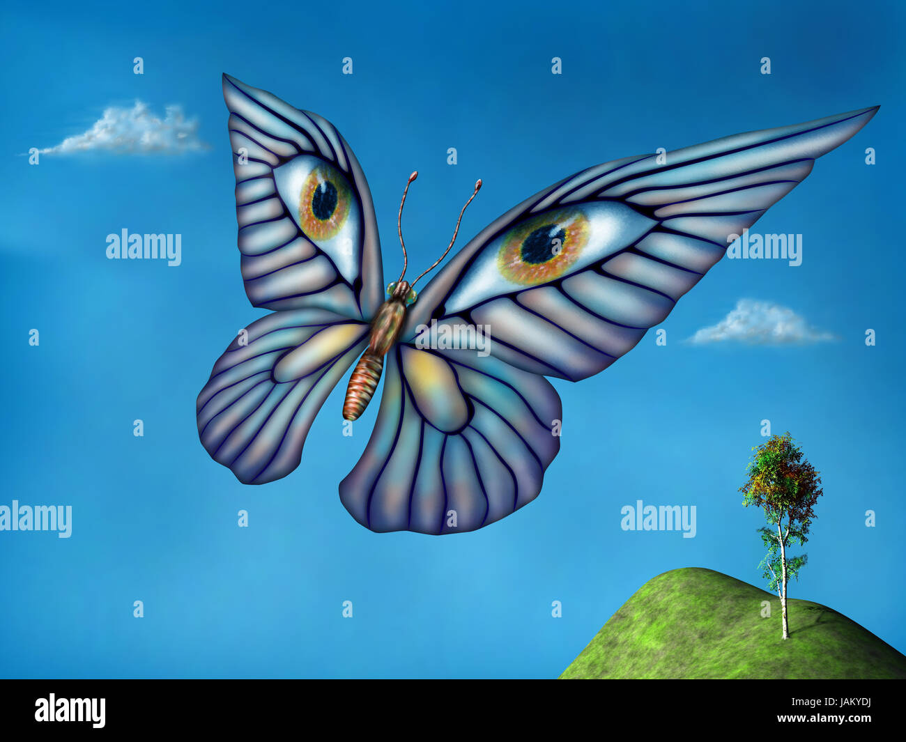 Stylized surreal butterfly flying above green hills on a