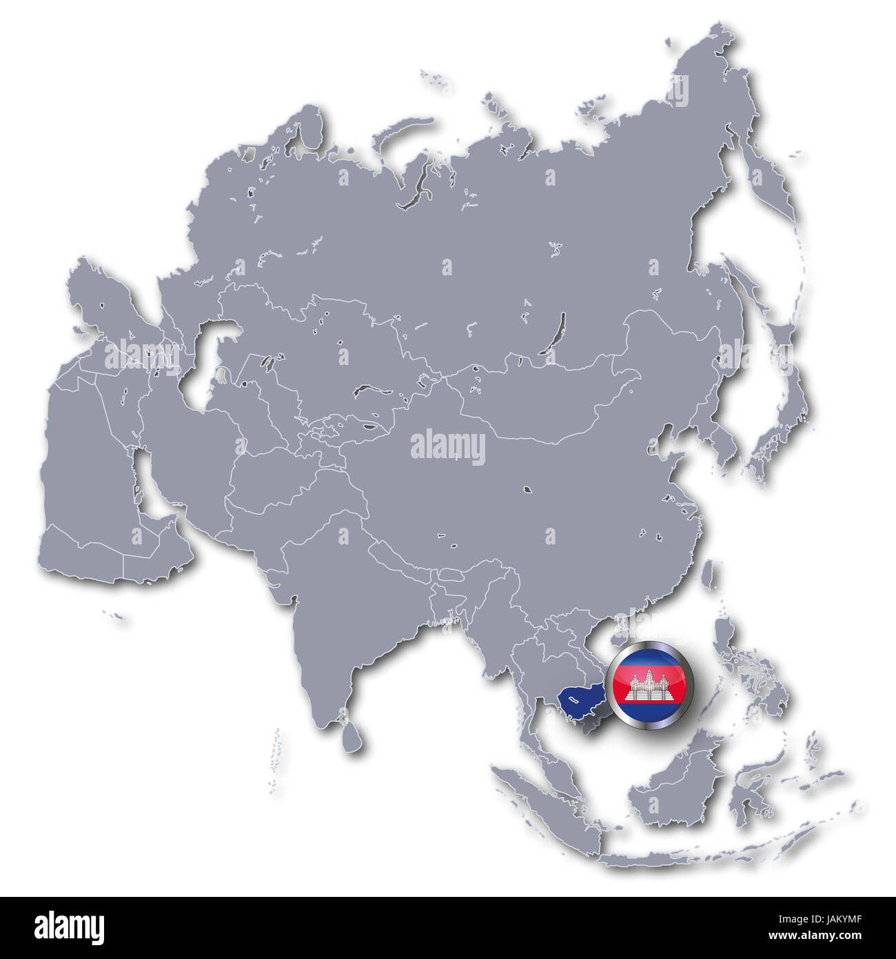 asia map with cambodia Stock Photo: 144268335 - Alamy