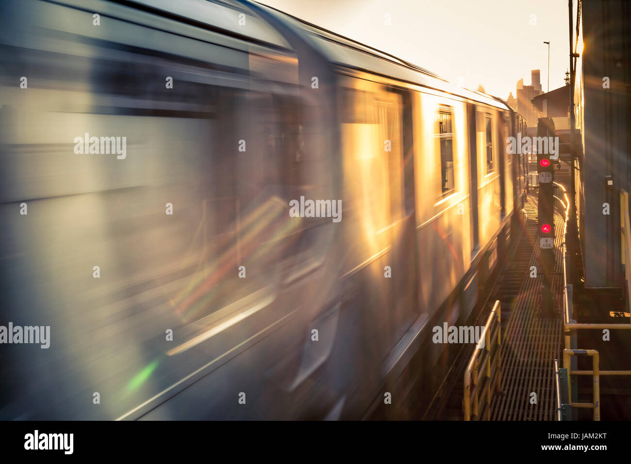Train in speed at sunset, abstract photo Stock Photo