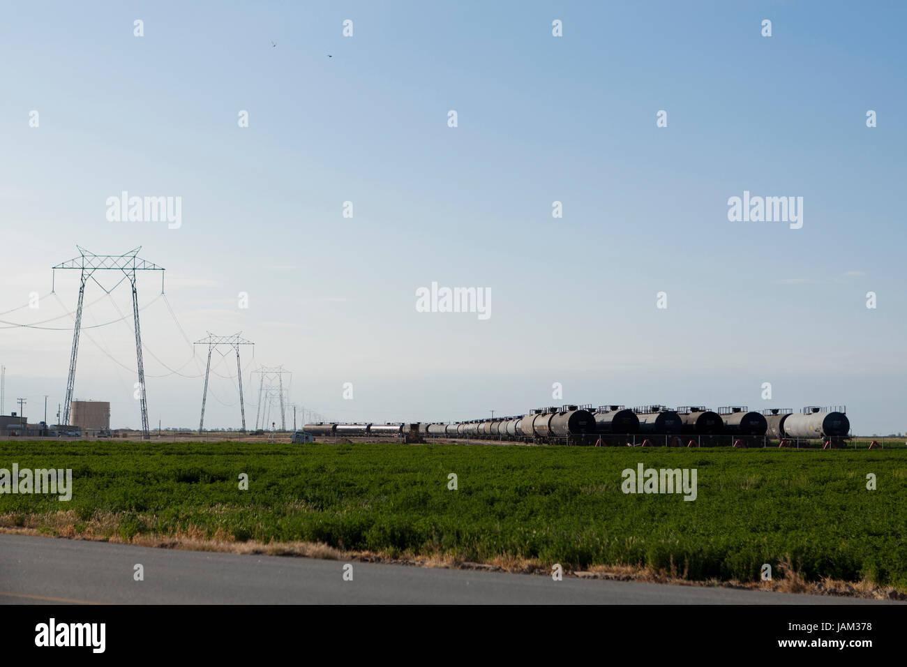 DOT 111 rail tank cars - California USA - Stock Image