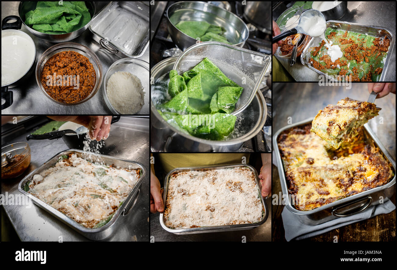 Making Lasagne. Typical Bologna homemade fresh green pasta cooked in oven. - Stock Image