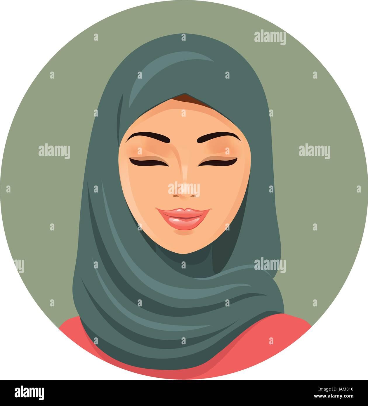 Beautiful muslim arab woman portrait in green hijab closing her eyes vector flat icon avatar. - Stock Vector