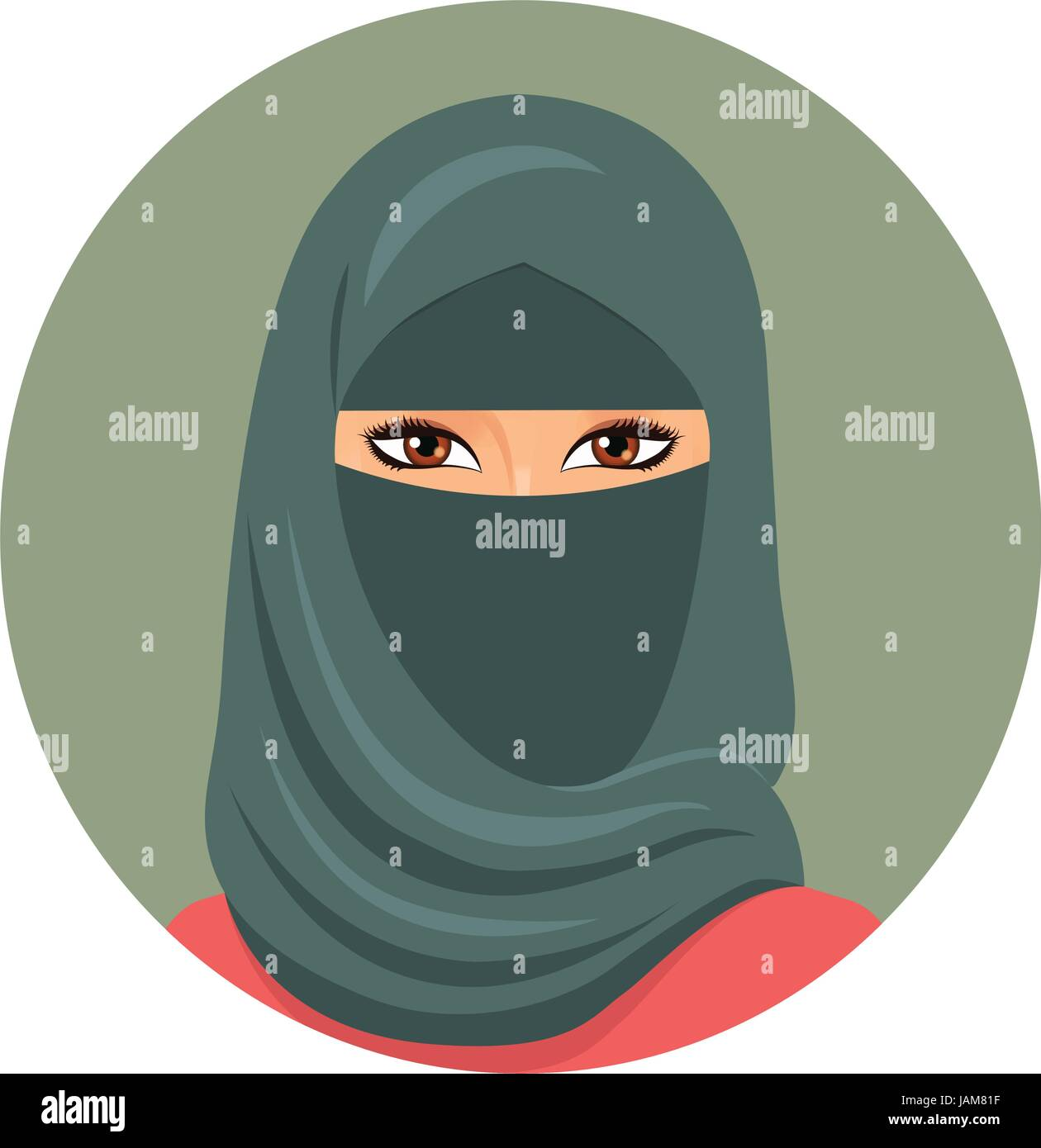 Arabic muslim woman portrait in niqab Isolated on a white background - Stock Vector