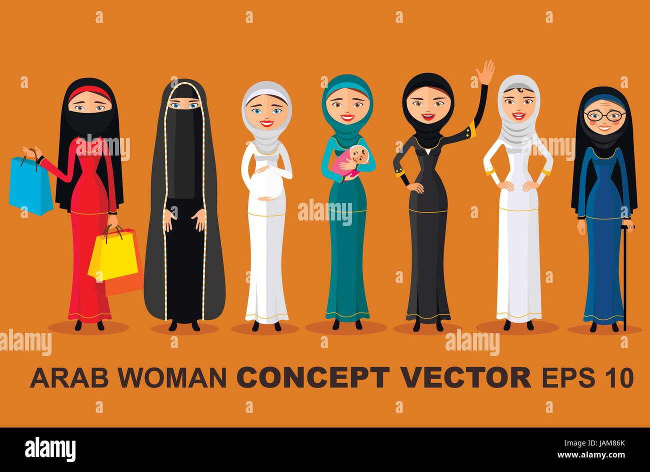ea8988fe7 Set of different standing arab women in the traditional muslim arabic  clothing isolated on white background in flat style.